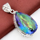 Teardrop Shaped Rainbow Mystical Fire Topaz Gemstone silver Necklace Pandant