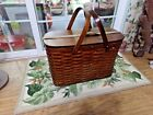 Antique 1902 Hawkeye Wooden Picnic Basket Refrigerator w/ Tin Inserts excellent