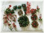Vintage Plastic Christmas Florals Candle Rings Picks Reindeer Elf Holiday Flower