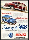 1951 Willys Jeep Station Wagon red & blue SUV art vintage print ad