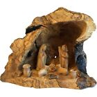 Unique Olive Wood Nativity Set with carved in by hand Rustic Stable no two