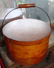 ANTIQUE N.E PRIMITIVE ROUND OAK BENT WOOD SHAKER PANTRY BOX W/ BALE HANDLE N/R