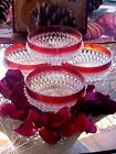 Vintage Indiana Glass Vintage Ruby Flash Diamond Point Salad Bowl Se