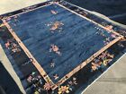 Auth: 30's Antique Art Deco Chinese Rug  Azure Blue Nichols 9x12 Wool Beauty  NR