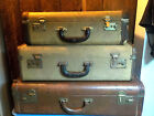 Antique Old Suitcases Flat Top Hardcase Wood Leather Bakelite Browns 3 sizes