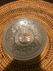set if (4) clear glass flower/star etched saucers /small plates