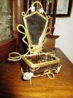 ART NOUVEAU VICTORIAN LOETZ GLASS ORMOLU PERFUME BOTTLE TRINKET CASKET MIRROR