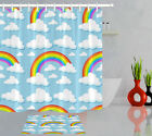 Waterproof Fabric Cloud & Rainbow Cartoon Shower Curtain Hook Bath Accessory Set