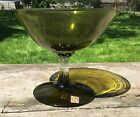 Vintage Mid Century Napcoware Green Glass Clear Pedestal Fruit Bowl Candy Dish