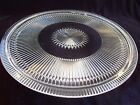 Vintage Jeannette Glass Crystal Anniversary Clear Footed Cake Plate USA Ribbed