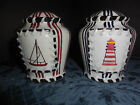 NAVY RED LIGHTHOUSE AND SAILBOAT SALT AND PEPPER SHAKER EUC PLUGS IN BOTTOM