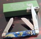 Hen  Rooster Solingen Germany Stock Knife Blue White  Gold Handles 1 2 Carry