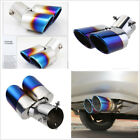 Blue Burnt Round Dual Exhaust Vehicle Rear Muffler Tip Tail Pipe Stainless Steel