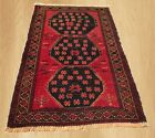 Authentic Hand Knotted Vintage Afghan Taimani Balouch Wool Area Rug 4x3 Ft(4343)