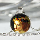 Girl Painting Tibet silver Dome Glass Cabochon Necklace chain Pendant 161