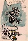 LEON KELLY 1950 Signed Ink and Watercolor Stage Design Raphaels Jewels