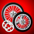 Coastal Moto Atlantic Chrome Wheels Tires Rotors for 2009 2019 Harley Touring