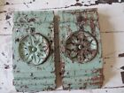 THE BEST PAIR Old Small Architectural PEDIMENT Pieces Chippy Green Paint PATINA
