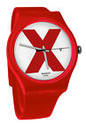 Swatch SUOR400 XX Rated Red White Analog Date Dial Silicone Band Watch