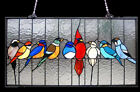 Stained Glass Window Panel 24 Long x 13 High Singing Birds Tiffany Style