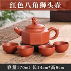 GOOD OLD PURPLE SAND TEAPOT HAND MADE RED OCTAGONAL LION HEAD TEAPOT 0363 st38