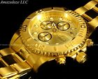 NEW Invicta Mens 18K Gold Plated Stainless Steel Golden Dial Chronograph Watch!!