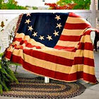 Primitive Country Betsy Ross TEA STAIN AMERICAN FLAG THROW Blanket Table Cloth