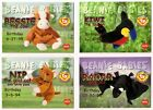Ty S1 Red Bessie/Kiwi/Nip/Radar Birthday Lot of 4 Beanie Baby Cards Series I-1