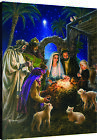 Away In A Manger Christmas Nativity Fiber Optic Canvas Wall Hanging w Remote