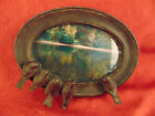 Vintage Black oval picture frame 5 birds perched 8 3/4