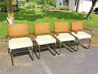 4 Vintage CESCA ARM CHAIR SET mid century modern wood dining caned white breuer