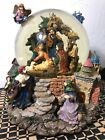 Vtg Musical Snow Globe The Nativity Scene w three Kings Town of Bethlehem 85