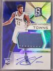 KARL-ANTHONY TOWNS 2015-16 SPECTRA BLUE PRIZM JUMBO JERSEY ROOKIE AUTO RC