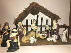 Vintage Christmas Nativity Set With Wooden Manger Stable 11 Piece Set