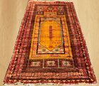 Distressed Hand Knotted Antique Afghan Maldar Balouch Prayer Wool Area Rug 5x3FT
