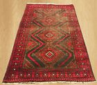 Distressed Hand Knotted Antique Afghan Maldar Balouch Wool Area Rug 5 x 3 FT