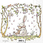 265 TWO Individual Paper Luncheon Decoupage Napkins BUNNIES HUG LOVE SPRING
