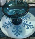 Vintage Carnival Glass Indiana Glass Teardrop Compote Dish Pedestal Bowl 7  3/4