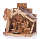 Zuluf Small Hand Carved Nativity Set Scene With Bark Roof Made In Bethlehem