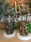 Brass Marble And Crystal Candleholders