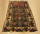 Authentic Hand Knotted Vintage Afghan Zakani Balouch Prayer Wool Area Rug 5x3 Ft