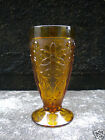 Vintage Indiana Glass Sandwich Pattern Amber 8oz Footed Water Tumbler No Damage