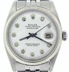 Mens Rolex Datejust Stainless Steel Watch 18K White Gold Bezel Diamond Dial 1601