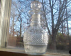 EARLY GROUND PONTIL CUT GLASS LIQUOR DECANTER WITH CUT GLASS STOPPER 1800s