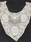 Antique Textile CROCHET COLLAR Sample On Silk LACE Tatting NEEDLEWORK Embroidery