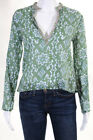Calypso Christiane Celle Green Pink Cotton V Neck Long Sleeve Blouse Top Size XS