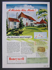 1950 Honeywell Clock Thermostat hopkins mn house home art vintage print Ad