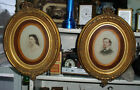 OUTSTANDING PAIR ANTIQUE VICTORIAN ORNATE GOLD GILDED FRAMED PORTRAITS N/R