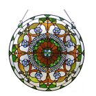 Round Victorian Tiffany Style Handcrafted Stained Cut Glass 24