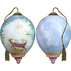 NeQwa Art Hand Painted Blown Glass Asleep On The Hay Ornament Nativity Let All